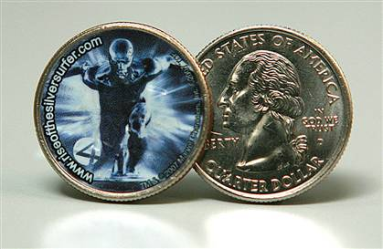 Image of the Silver Surfer Quarter released by 20th Century Fox and the Franklin Mint
