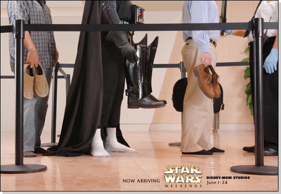 Darth Vader airport promotional image for Star Wars weekends at Walt Disney World.