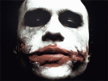 Heath Ledger as the Joker in the Dark Knight.