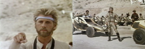 Two screen caps from MegaForce - What a cool jumpsuit and headband.