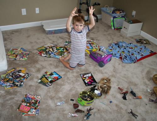 Carter sorting his comics