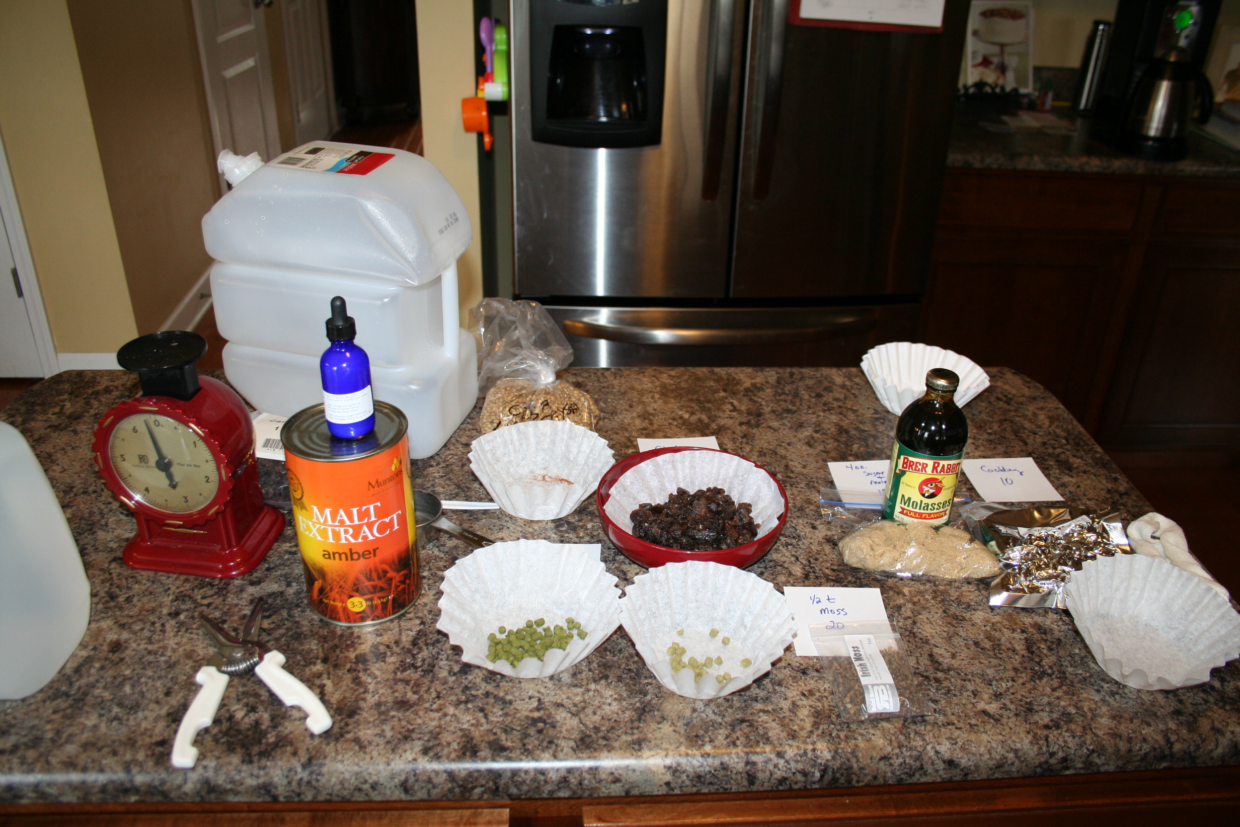 Brown Ale ingredients assembled and ready to go